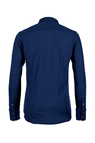 super.natural Herren M Waterfront Piquet Shirt Merino-Hemd Blau (Indigo)