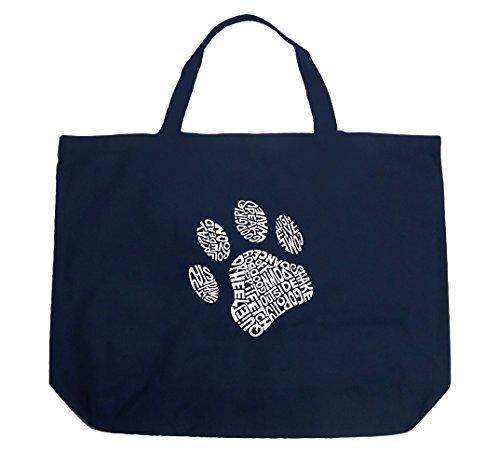 Große Tasche–Hundepfoten–Marineblau Blau von la Pop Art