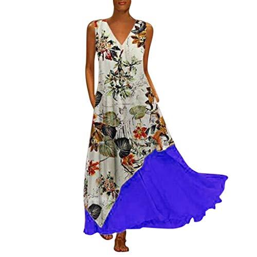Bedruckte Seide Organza-kleid (Oksea Damen Strandkleid Swing Boho Damen Vintage unregelmäßiges Kleid Plus Size Frauen Vintage V Ausschnitt Spleißen Floral Bedruckte ärmellose Maxi Kleid)