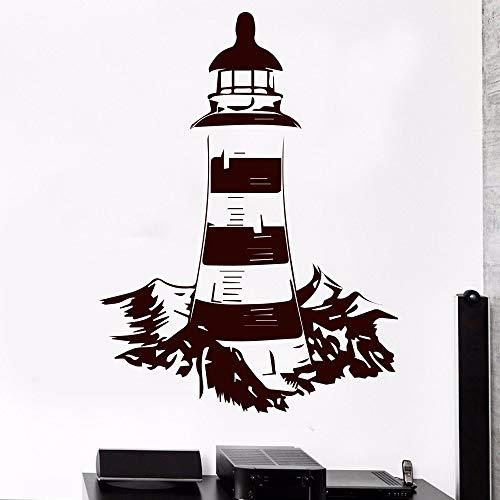 Klassische Leuchtturm Meer Nautische Wandaufkleber Für Wohnzimmer Dekoration Vinyl Wandkunst Aufkleber Wandbild Schlafzimmer Dekor Weiß XL 58 cm X 77 cm