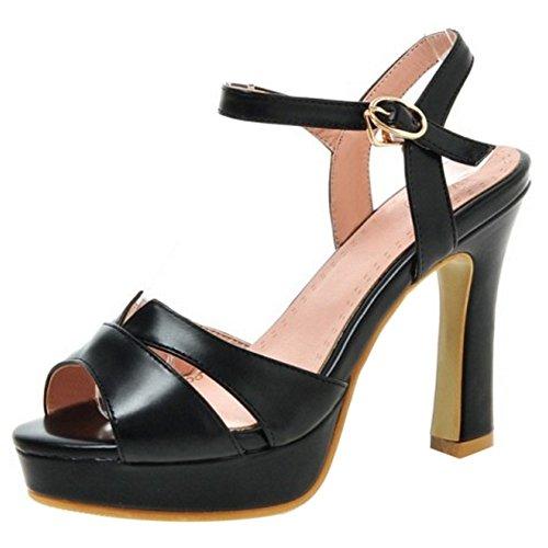 COOLCEPT Damen Mode Knochelriemchen Sandalen Peep Toe Blockabsatz Slingback Schuhe Schwarz