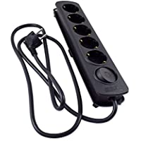 TM Electron TMUAD205BK - Base múltiple de 5 Tomas con Interruptor, Color Negro
