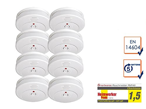 8er-SET Rauchmelder mit TÜV Zertifizierung & 5 Jahres Batterie - die günstige Alternative zum 10...