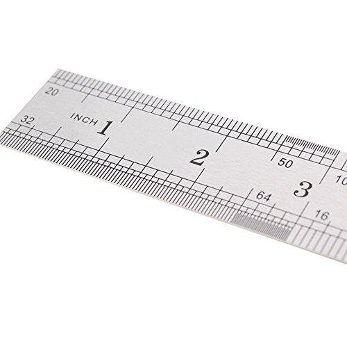Kcopo Gerade Lineal Edelstahl Lineal Messwerkzeug Edelstahl metrisch Stahlmaßstab Stahllineal Metall Lineal Kit mit 20 cm 2 Stücke