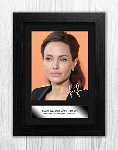 Engravia Digital Angelina Jolie (3) Reproduction Autograph Signed Poster Photo A4 Print (Black Frame)