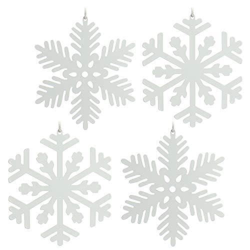 com-four® 4X Christbaumschmuck aus Metall - Weihnachtsdeko Schneeflocke - Anhänger für Weihnachten in weiß [Motivauswahl variiert] (4-teilig - 11.5cm)