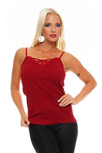 2er Pack Damen Unterwäsche mit Spitze (Unterhemd, Träger-Top, Shirt) Nr. 421 ( Blau-Rot / 56/58 ) - 3