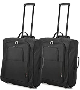 Set of 2 easyJet & British Airways 56x45x25cm Maximum Cabin Hand Luggage Approved Trolley Bag, Huge 60L Capacity, (Black)
