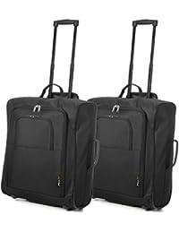 Easyjet y British Airways 56x45x25cm máxima de la cabina de equipaje de mano Aprobado bolso de la carretilla, enorme capacidad 60L, (Negro)