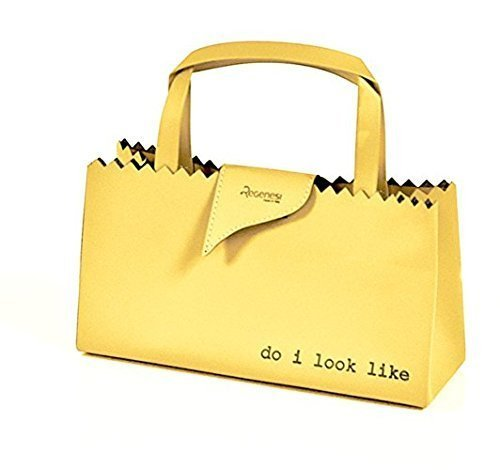 Regenesi Shorty Fruit Bag, Borsa baguette, accessorio di design in pelle rigenerata prodotta a mano in Italia Giallo