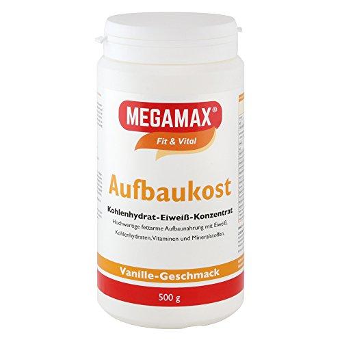 Megamax Aufbaukost Vanille 500 g- Ideal zur Kräftigung u. bei Untergewicht. Proteinpulver zur Zubereitung eines fettarmen Kohlenhydrat-Eiweiß-Getränkes für Muskelmasse u. Muskelaufbau Gewichtszunahme