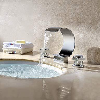 Waschbecken Wasserhahn - Wasserfall Chrom verbreitet zwei Griffe drei Löcher: Chrom