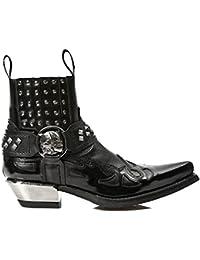 New Rock Hombres Negro Cuero Estrecho Forma Formal Casual Zapatos - M.2246.S20 (EU 41, Negro)