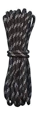 Quality Round Hiking Boot Laces - Black with Light Grey Fleck - 4mm diameter