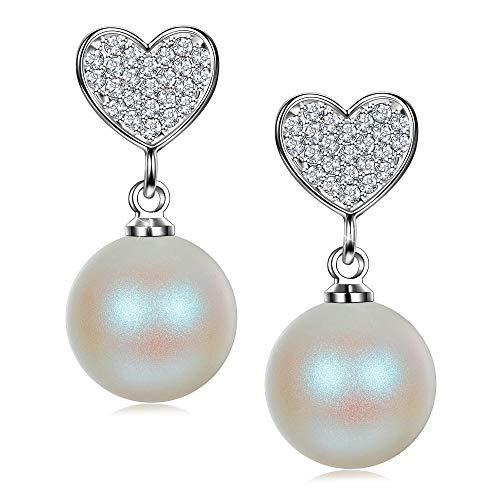 J. RENEÉ Orecchini Natale Cuore orecchini perle argento 925 con Perle bianco di Swarovski, regalo donna, gioielli donna, orecchini pendenti donna