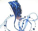 CaPiSo 10m Cinta Organza 1 cm con Cuentas: Azul