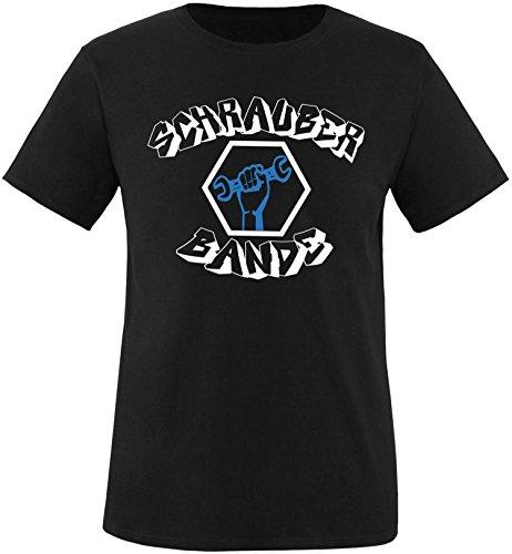 EZYshirt® Schrauber Bande Herren Rundhals T-Shirt Schwarz/Weiss/Blau