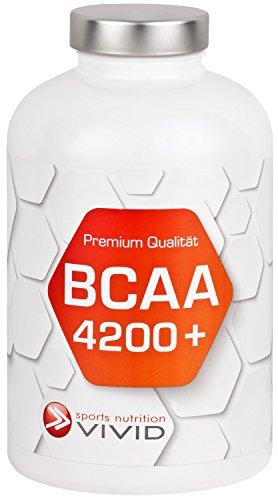 BCAA 4200 plus - L-Leucin, L-Valin + L-Isoleucin + Vitamin B6 im optimalen Verhältnis 2:1:1 - Für Kraftsport, Fitness, Ausdauersport (180 Kaps. Monatspackung)