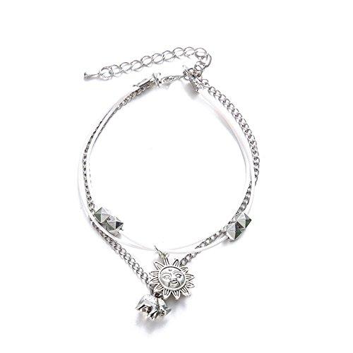 Da.Wa 1Pcs Bracelet de Cheville Femme-Argent synthétique-Bijoux en Alliage Bohème