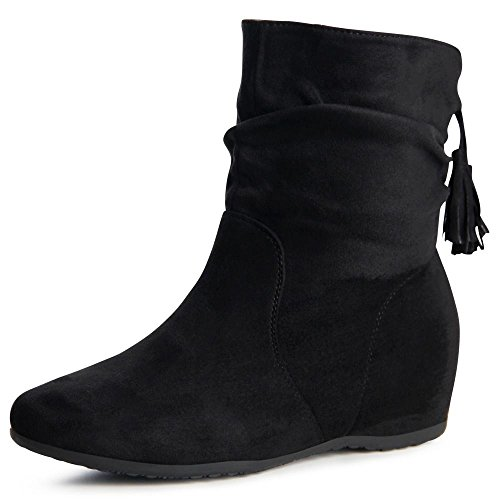 topschuhe24 871 Damen Boots Stiefeletten Keilabsatz Schwarz