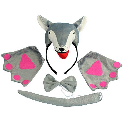 Amosfun 4 stücke Wolf Ohren und Schwanz Set Kinder Tier Kostüm Set Tier Ohren Stirnband Fliege und Schwanz Handschuhe Party Cosplay - Wolf Ohren Und Schwanz Kostüm Set