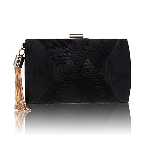 Maysurban Damen Clutch Kettentasche mit Quasten Anhänger Handtasche aus Seiden Party Abendtasche Hochzeit Schwarz -