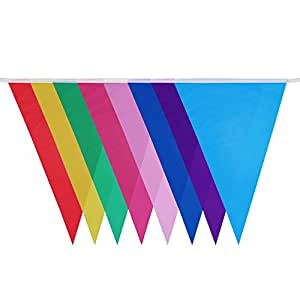 Bunting Banner, GoFriend® 49 Feet Multicolor PE Pennant Banners String Triangular Flag Party Banner 32 Flags 8 Colors Double Sided for Grand Opening Wedding Birthday Party Baby Shower Home Decoration