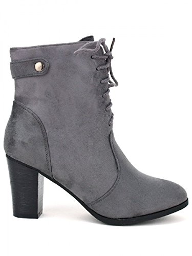 Cendriyon, Lows Boots noires TOM et EVA Chaussures Femme Gris