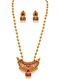 JFL - Traditional Ethnic Kemp One Gram Gold Plated Green & Pink Stone Designer Necklace Set For Women And Girls - B073ZFHYMN