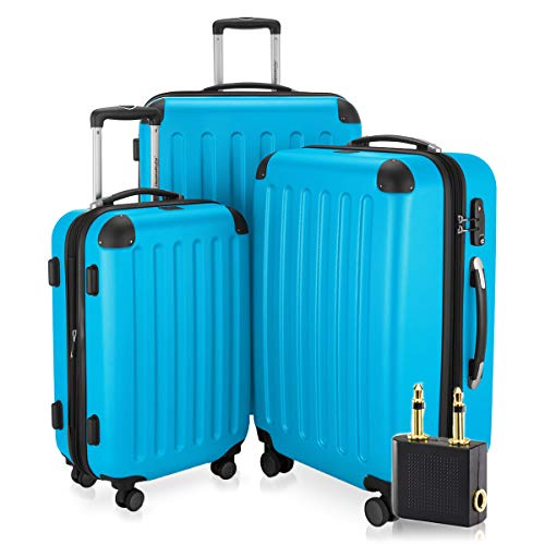 Hauptstadtkoffer - Spree - 3er-Koffer-Set Trolley-Set Rollkoffer Reisekoffer-Set Erweiterbar, TSA, 4 Rollen, (S, M & L), Cyan Blau +LogiLink® Flugzeug Audio Adapter