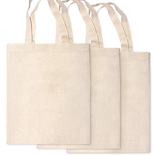 Bolsa de la compra de lona de algodón de 3 piezas con bolsa de comestibles reutilizable de color natural para manualidades, decoración, pintura de tela