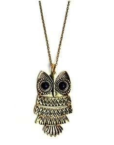 Vintage Bronze Antique black eyed owl Hibou rétro collier pendentif bijoux