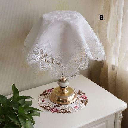 Zbm-zbm Einfache Nachttisch Runde Tischlampe Abdeckung Tuch, Spitze Bettdecke Tuch Staubschutz Universal Möbelabdeckung Handtuch (56 * 56 cm) (Farbe : B) -