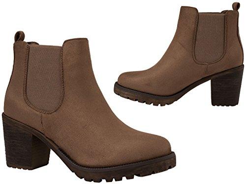 Elara Ankle Boots | Trendig Bequeme Damen Stiefeletten | Plateau Blockabsatz Khaki Wildleder