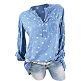 Damen Bluse Xiantime Damen Freizeit V-Ausschnitt Bluse Locker Hemd Blusenshirt Oberteile Langarmshirt Lose Casual Bluse Tops S-5XL