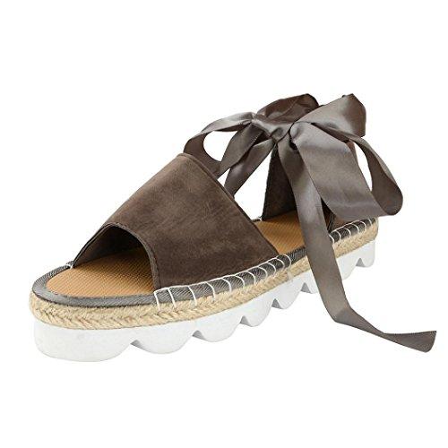 VJGOAL Damen Sandalen, Damen Mädchen Mode Roma Wohnung Lace up Espadrilles Sommer Chunky Urlaub Sandalen Schuhe Frau Geschenk (38 EU, Grau)