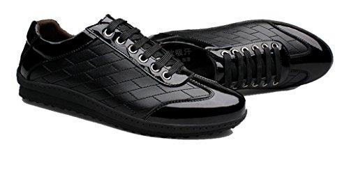XIGUAFR Homme Chaussure Basse au Loisir en Cuir Plate Printemps Chaussure à Lacets Respirant Noir