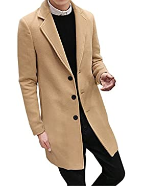 Hombre Invierno Abrigo,Longra Hombres de invierno Slim elegante Trench Coat Double Breasted Chaqueta larga Parka...