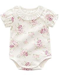 Manga de los bebés mono de algodón Bodies bebé Romper Corto Mono lindo del estampado de flores de 66 cm volante de la solapa de bebé traje blanco