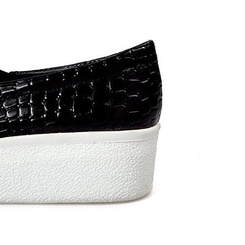 VogueZone009 Femme Pu Cuir Couleur Unie Tire Fermeture D'Orteil Rond à Talon Correct Chaussures Légeres Noir