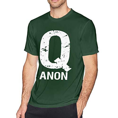 Men's Cotton Short-Sleeved T-Shirt QAnon Freedom Movement Q Anon White Rabbit Forest Green L -