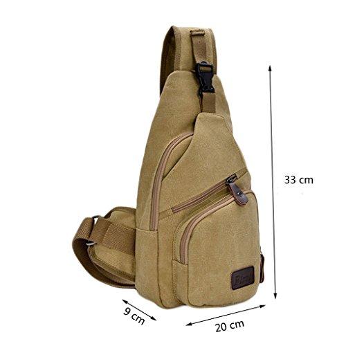 Zeafin Hernn Sport Wandern Freizeit Camping Outdoor Rucksäcke Segeltuch Kleine Taschen Khaki