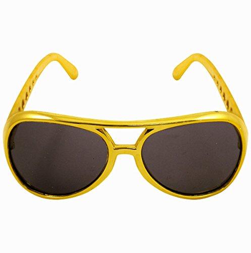 German Trendseller® - Rapper Gold Brille ┃ Gangster ┃ Party ┃ Sonnebrille ┃ Rapper ┃ USA (Dollar König Kostüme)