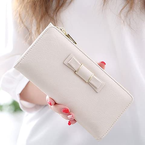 Señoras larga bi-fold billeteras, Japón bow broche señoras multifunción chaqueta de cuero,