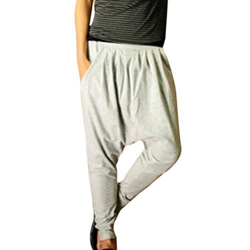Minetom Homme Taille Elastique Slant Poches Pantalon Sarouel bien conçu Pantalon Herem élastique Pantalon Jogging Gris Clair