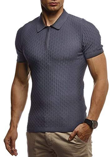 Jungen Muskel T-shirt (Leif Nelson Herren Sommer T-Shirt Poloshirt Slim Fit aus Feinstrick Cooles Basic Männer Polo-Shirt Crew Neck Jungen Kurzarmshirt Polo Shirt Sweater Kurzarm LN7315 Anthrazit Medium)