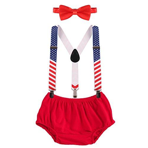 Kostüm Verschiedene Barbie - OBEEII Baby 1. / 2. Geburtstag Outfit Neugeborenen Kinder Bloomer Shorts + Fliege + Clip-on Hosenträger 3pcs Bekleidungssets für Foto-Shooting Kostüm Rot & Flagge