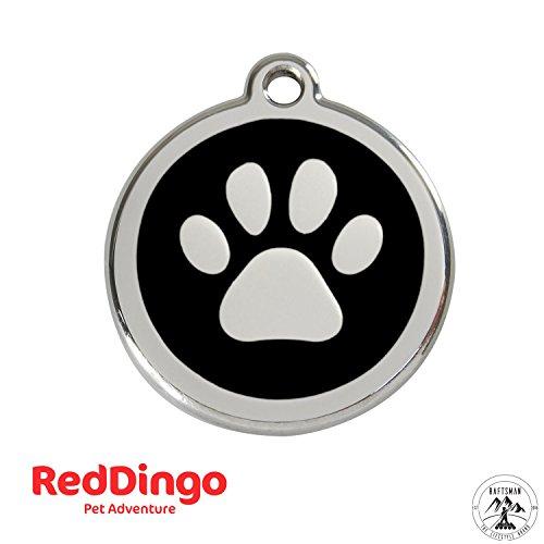 Red Dingo Hundemarke mit Gravur - Hunde ID Tag - Adressanhänger - Adressschild - (Pfote Schwarz)