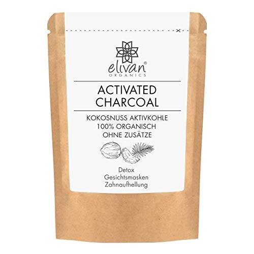 Aktivkohle-pulver (Aktivkohle Pulver - ACTIVATED CHARCOAL by elivan organics - extra feines Pulver - ohne Zusätze - aus Kokosschalen - Zahnaufhellung & Bleaching - Gesichtsmasken & Seifen - Detox - 40 g)