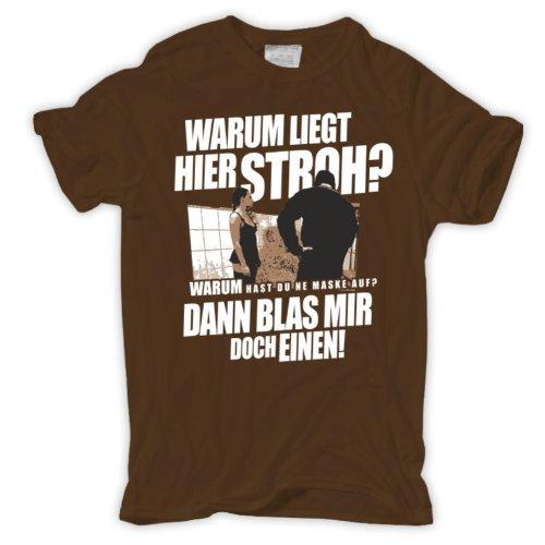 Männer und Herren T-Shirt Warum liegt hier Stroh? (mit Rückendruck) Körperbetont schwarz